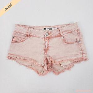 [Brandy Melville] Pink Faded Frayed Denim Shorts